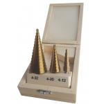 Grąžtai pakopiniai 3vnt. 4-12, 4-20, 4-32mm (M22321)