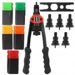 Kniediklis srieginėms kniedėms | su rinkiniu | M3, M4, M5, M6, M8 /300 mm (M49571V)